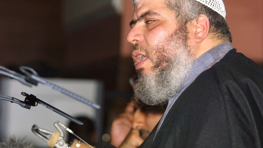 July 12, 2012:  radical cleric Mustafa Kamel Mustafa, then known as Sheik Abu Hamza al-Masri, addresses a fundamentalist Islamic conference in London condemning what he said was oppression of Muslims in the West.