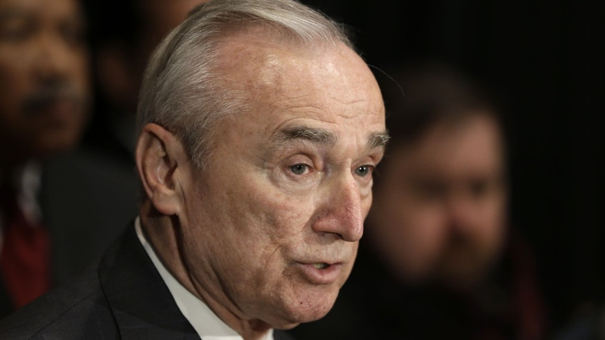 Jan. 7, 2015: New York City Police Commissioner Bill Bratton speaks to reporters after an NYPD swearing-in ceremony in New York