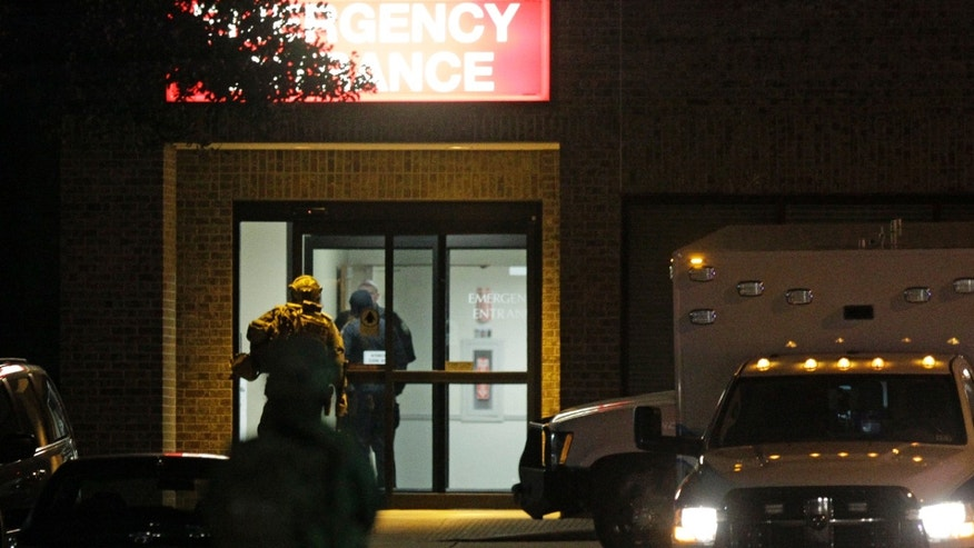 Jan. 10, 2015: Police are shown working at the scene of an emergency at Tomball Regional Medical Center.