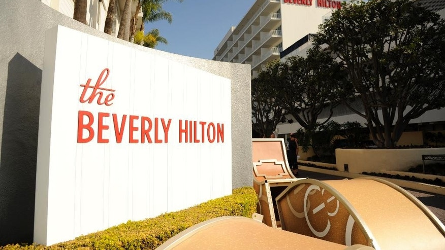 The Beverly Hilton is pictured during the 72nd Annual Golden Globe Awards Preview Day at the Beverly Hilton on Thursday, Jan. 8, 2015, in Beverly Hills, Calif. The Golden Globe Awards will be held on Sunday, Jan. 11, 2015, at the Beverly Hilton. (Photo by Chris Pizzello/Invision/AP)