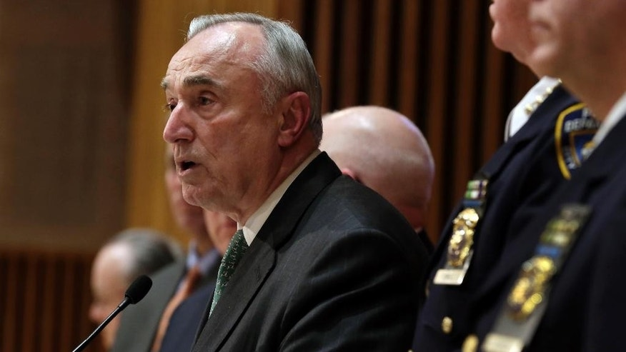 New York City Police Commissioner William Bratton, speaks during a news conference at police headquarters, in New York,  Monday, Jan. 12, 2015. There are signs that disgruntled officers have started making more low-level arrests, New York Police Department officials said Monday. NYPD statistics show arrests were up in the past week after plummeting in the weeks following the fatal ambush of two patrolmen in December. (AP Photo/Richard Drew)