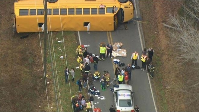 15 injured when school bus overturns in North Carolina