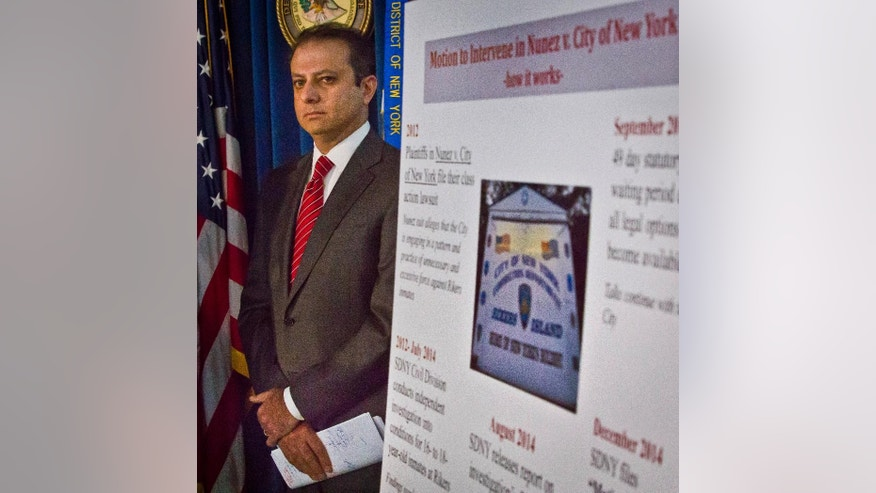 FILE - In this Dec. 18, 2014, file photo, U.S. Attorney for the Southern District of New York Preet Bharara listens during a news conference in New York after federal prosecutors sued New York City to speed reforms at the troubled Rikers Island jail complex. The lawsuit was filed to address what a Justice Department investigation found was a culture of violence against young inmates. Still, in the midst of heightened scrutiny to reform New York City's jails, reports of violence by guards against inmates reached an all-time high in 2014, according to documents obtained by The Associated Press. (AP Photo/Bebeto Matthews, File)