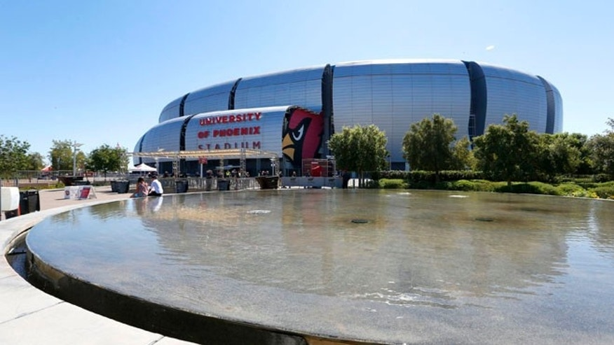 Sept. 15, 2013: file photo shows the outside of the University of Phoenix Stadium  in Glendale, Ariz. The Super Bowl will be played here on Feb. 1. (AP)