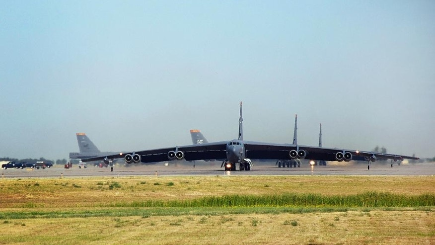 FILE - In this Aug. 9, 2007 file photo, B-52 bombers taxi to the runway at  Minot Air Force Base in Minot, N.D. South Dakota Sen. John Thune said Friday, Jan. 16, 2015, the Air Force has approved a proposal to establish an enormous bomber training area over the Northern Plains. It would be used by B-1 bombers at South Dakota's Ellsworth Air Force Base and B-52 bombers at Minot Air Force Base in North Dakota. (AP Photo/The Daily News, Eloise Ogden, File)