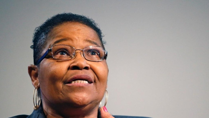 """Lynda Blackmon Lowery speaks during a pre-Martin Luther King Day appearance at the New York Historical Society, Sunday, Jan. 18, 2015, in New York. Blackmon, who spoke about her memoir """"Turning 15 on the Road to Freedom,"""" was the youngest person to join Martin Luther King Jr. for the nonviolent 1965 march from Selma to Montgomery, Alabama. (AP Photo/Kathy Willens)"""