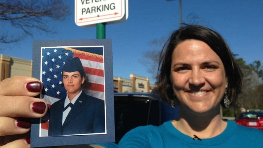 Mary Claire Caine, an Air Force veteran, says a note was left on her car for parking in a veterans-reserved spot.