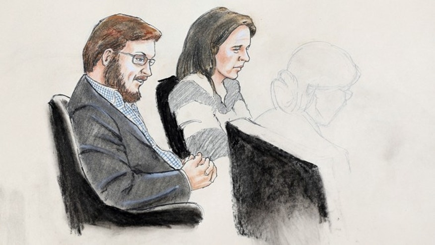 Jan. 20, 2015: In this courtroom sketch, James Holmes, left, and defense attorney Tamara Brady are depicted, as they sit in court on the first day of jury selection in Holmes' trial, at the Arapahoe County Justice Center,  in Centennial, Colo.