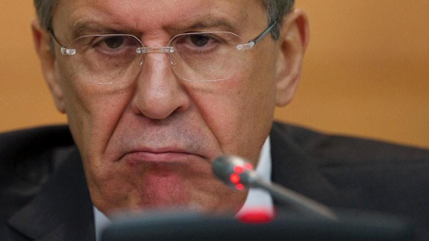 Russian Foreign Minister Sergey Lavrov speaks during his annual news conference in Moscow, Russia, Wednesday, Jan. 21, 2015. Russia's foreign minister said Wednesday that talks with his counterparts from Ukraine, France and Germany will focus on situation in the Eastern Ukraine. (AP Photo/Ivan Sekretarev)