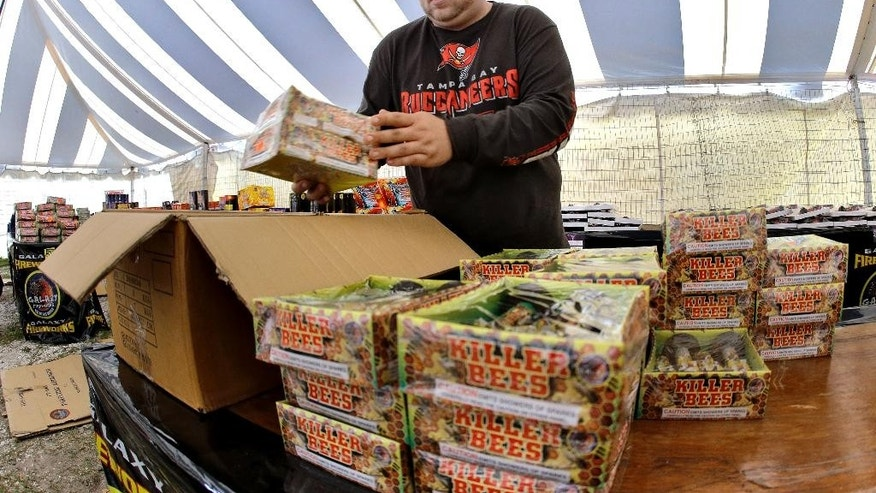 In this Jan. 2, 2015 photo, Joshua Thevenin, 29, packs boxes of unsold fireworks from inside a roadside tent Monday, Jan. 5, 2015, in St. Petersburg, Fla. Thevenin has worked as a newspaper salesman, fireworks vendor and tele-marketer. He lost his truck, missed his rent payment and had to go on food stamps. Like many workers barely holding on, he can't relate to President Obama's talk of an ''American resurgence.''  The fireworks were being sent back to the supplier. (AP Photo/Chris O'Meara)