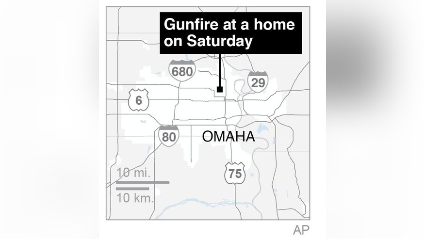 Map locates shooting in Omaha, Neb.; 1c x 2 inches; 46.5 mm x 50 mm;