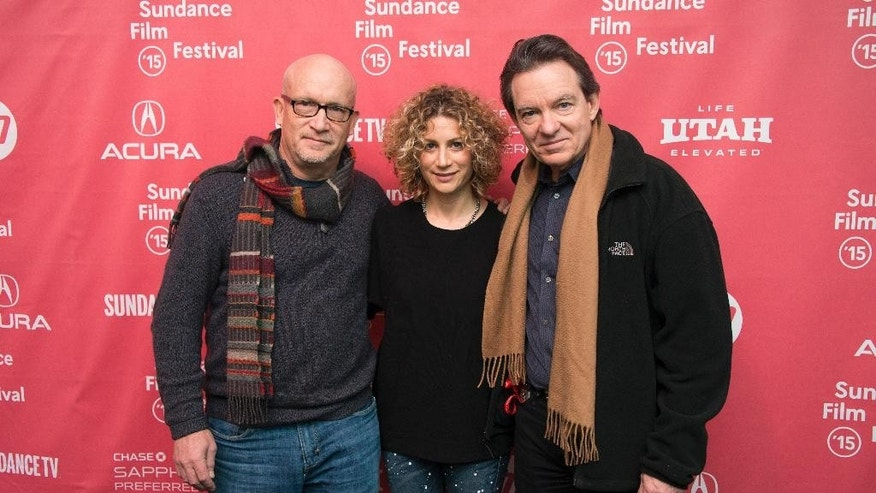 "Director Alex Gibney, left, Sara Bernstein, Senior Vice President of Programming for HBO Documentaries, and author/producer Lawrence Wright, right, attend the premiere of ""Going Clear: Scientology and the Prison of Belief"" during the 2015 Sundance Film Festival on Sunday, Jan. 25, 2015, in Park City, Utah. (Photo by Arthur Mola/Invision/AP)"