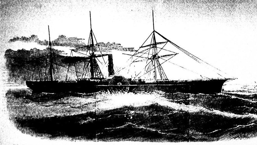 FILE - This undated drawing made available by the Library of Congress shows the U.S. Mail ship S.S. Central America, which sank after sailing into a hurricane in September 1857 in one of the worst maritime disasters in American history; 425 people were killed and thousands of pounds of gold sank with it to the bottom of the ocean. The U.S. Marshals Service captured former fugitive Tommy Thompson at a Hilton hotel in West Boca Raton on Tuesday Jan. 27, 2015. Thompson had been on the lam for two years, accused of cheating investors out of their share of $50 million in gold bars and coins he had recovered from a 19th century shipwreck. (AP Photo/Library of Congress, File)