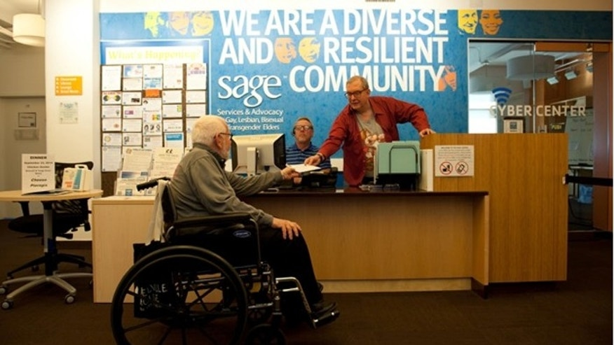 SAGE's senior center in Manhattan provides activities and meals for LGBT seniors. (Photo by Liz Clayman)