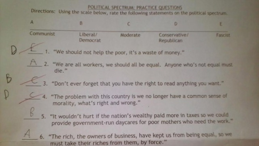 A Wisconsin mother claims this quiz was administered to her 16-year-old son and his classmates in their 11th-grade U.S. government and politics class at Nathan Hale High School in West Allis, Wisc.