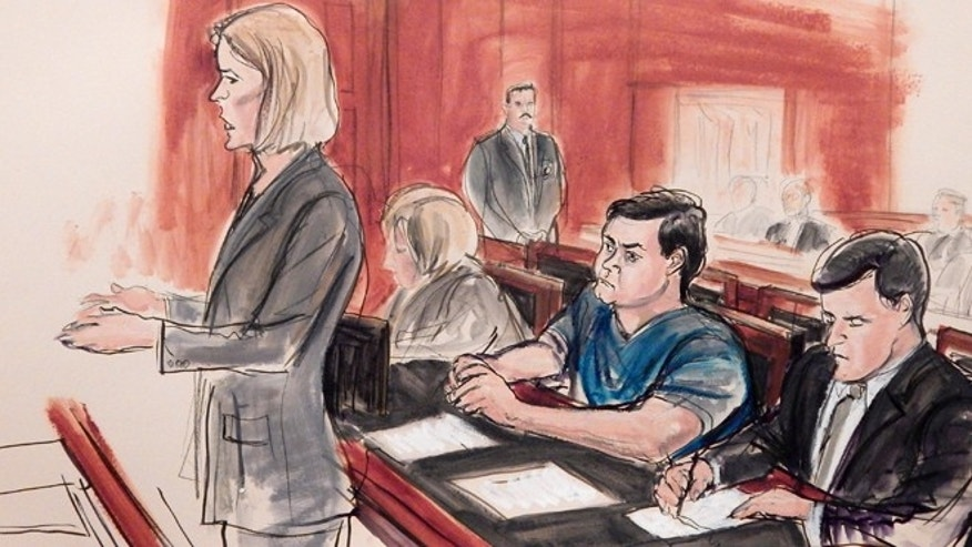 Feb. 11, 2015: In this courtroom sketch, Assistant U.S. Attorney Anna Skotko, foreground left, addresses the court at the arraignment of Russian citizen Evgeny Buryakov in New York.
