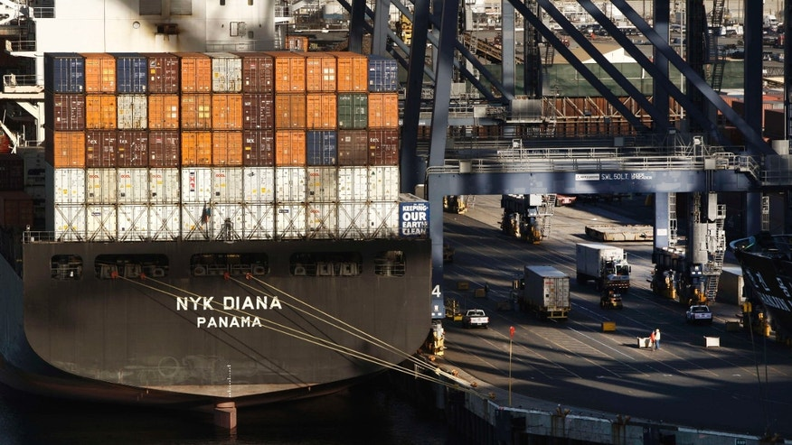 Jan. 14, 2015: Containers are unloaded off the NYK DIANA container ship docked at Hanjin terminal at the Port of Los Angeles.