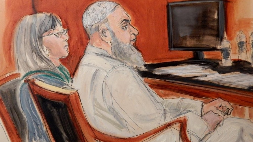 FILE- In this Jan. 20, 2015 courtroom sketch, Khaled al-Fawwaz, right, a defendant in the 1998 bombings of the U.S. embassies in Kenya and Tanzania that killed 224 people, is seated next to his defense attorney, Barbara O'Connor, during jury selection in Manhattan Federal Court. Prosecutors say al-Fawwaz, an early leader of al-Qaida, conspired in the 1998 bombings of two U.S. embassies in Africa. The attacks killed 224 people, including a dozen Americans. (AP Photo/Elizabeth Williams, File)