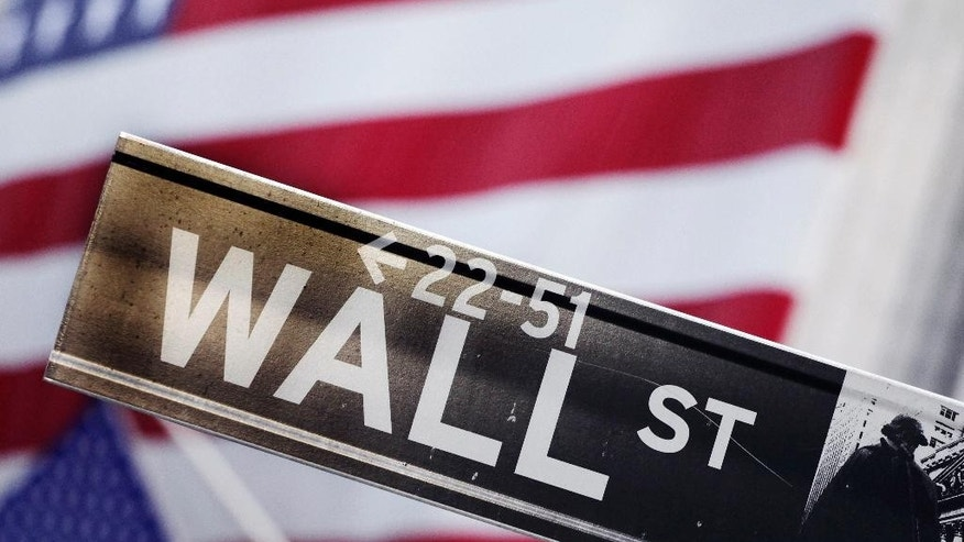 FILE - This Aug. 9, 2011 file photo shows a Wall Street street sign near the New York Stock Exchange, in New York. U.S. stocks were lower in early trading Tuesday, Feb. 17, 2015, as investors continued to watch Greece's debt talks and hoped a deal would eventually be reached to keep the country from falling out of the eurozone. (AP Photo/Mark Lennihan, File)