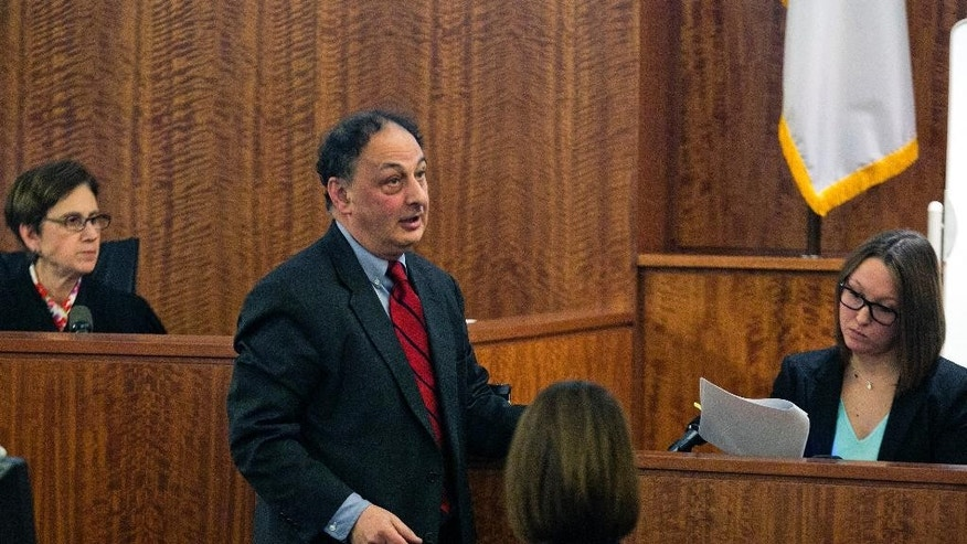 Defense attorney James Sultan, center, cross-examines State Police forensic chemist Alanna Frederick, right, during the murder trial for former NFL player Aaron Hernandez at the Bristol County Superior Court in Fall River, Mass., Wednesday, Feb. 18, 2015. Hernandez is accused in the June 17, 2013, killing of Odin Lloyd, who was dating his fiancée's sister. (AP Photo/Dominick Reuter, Pool)