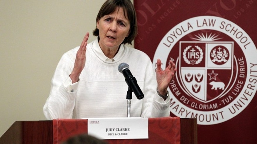 April 26, 2013: In this file photo, defense attorney Judy Clarke speaks to students at Loyola Law School in Los Angeles. (AP)