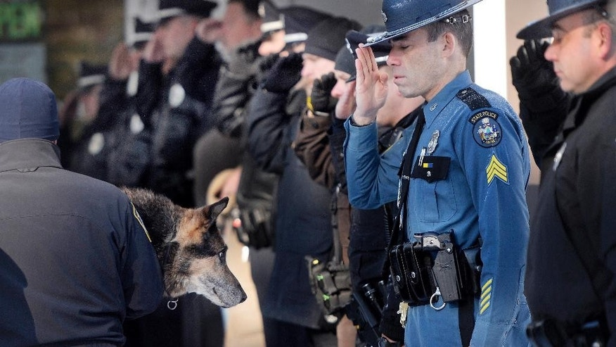 In this Feb. 13, 2015, photo Sgt. Robert Burke of the Maine State Police salutes along with other officers from local communities as Canine Officer Shane Stephenson of the South Portland Police Department carries Sultan, a retired police dog into the Yarmouth Veterinary Center where he was euthanized in Yarmouth, Maine. Dozens of officers and firefighters turned out this month to pay their respects to Sultan, a 13-year-old German shepherd who sniffed out drugs and bad guys with the Yarmouth Police Department.   (AP Photo/The Press Herald, Shawn Patrick Ouellette) MANDATORY CREDIT
