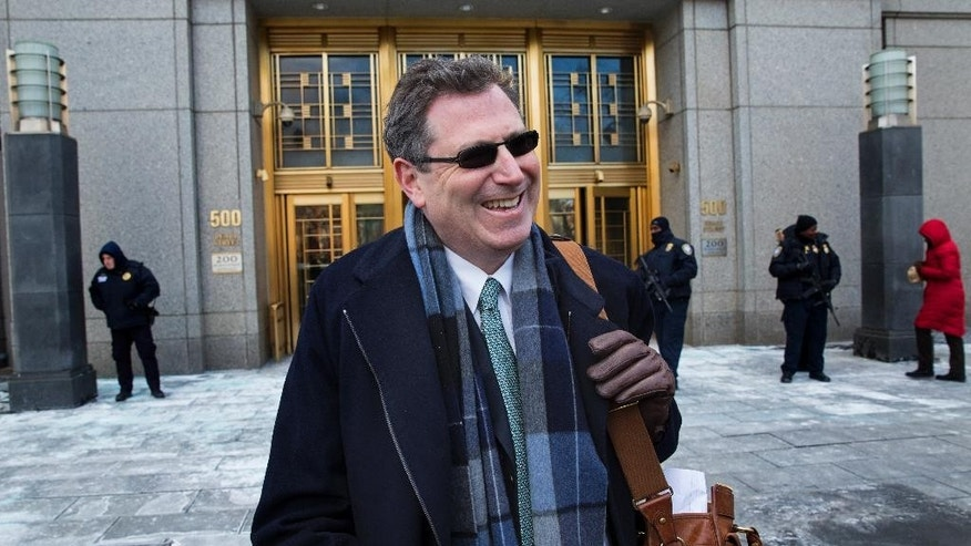Attorney Kent Yalowitz, representing those affected by attacks in Israel in the early 2000s, comments about the conclusion of he case outside a federal courthouse in New York Monday, Feb. 23, 2015. The court found the Palestinian authorities liable in the attacks, with jurors awarding the victims $218.5 million in damages at a civil trial.  (AP Photo/Craig Ruttle)