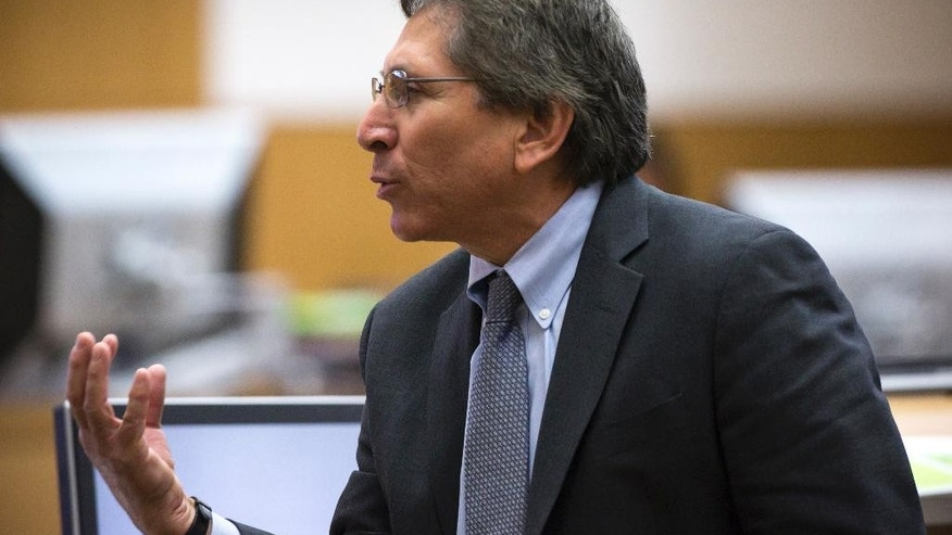 Prosecutor Juan Martinez presents his final arguments during the sentencing phase of the Jodi Arias retrial at Maricopa County Superior Court, Tuesday, Feb. 24, 2015 in Phoenix. (AP Photo/The Arizona Republic, Mark Henle, Pool)