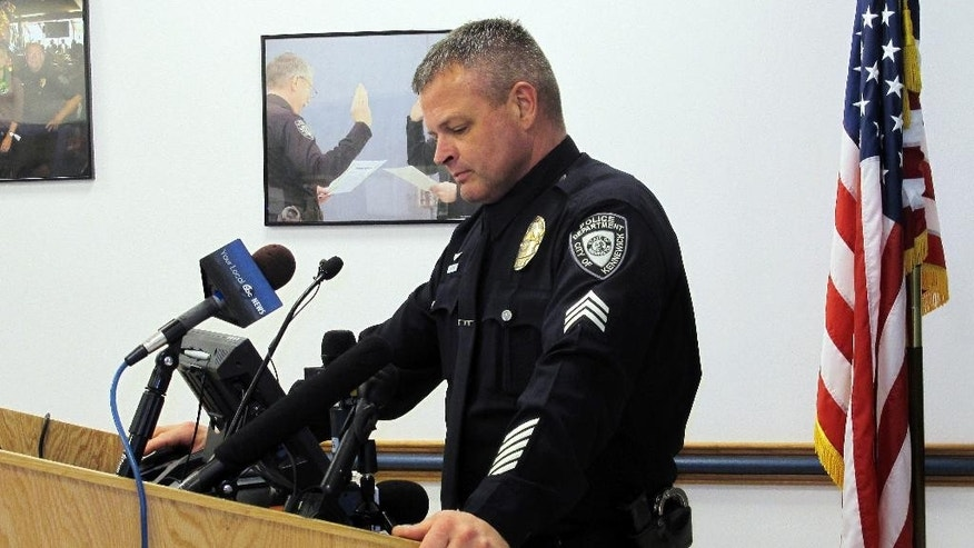 Kennewick Police Sgt. Ken Lattin talks to reporters, Wednesday, Feb. 25, 2015 about the investigation of the fatal police shooting of Antonio Zambrano-Montes, who was unarmed, in nearby Pasco, Wash., on Feb. 10, 2015. Lattin said the three officers involved in the death fired 17 shots, including several that struck Zambrano-Montes, but no shots hit him in the back. (AP Photo/Nicholas K. Geranios)