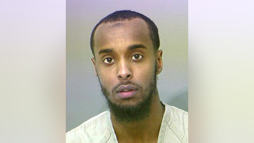 This undated photo provided by Franklin County Sheriff's Office shows Abdirahman Sheik Mohamud. Mohamud is due in court on charges of supporting terrorism and money laundering over the past year and a half. A prosecutor's motion to set a $2.5 million bond for Mohamud alleges he provided material support or resources or electronic devices to people engaged in Middle East terrorism and traveled there. (AP Photo/Franklin County Sheriff's Office)