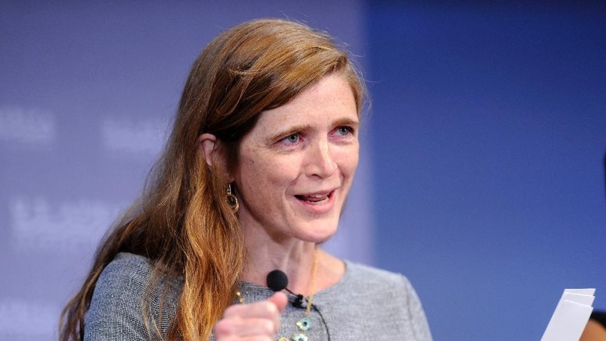 FILE - In this Aug. 4, 2014 file photo, U.S. Ambassador to the U.N. Samantha Power speaks in Washington. In a move that may ease _ or exacerbate _ spiraling tensions with Israel over a potential Iran nuclear deal, the White House has decided against snubbing America's leading pro-Israel lobby and will send President Barack Obama's national security adviser and U.N. ambassador to address its annual policy conference. (AP Photo/Susan Walsh, File)