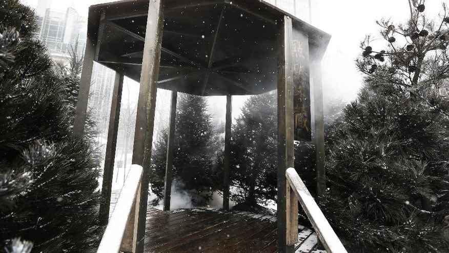 "Machine-generated fog that's part of ""A Winter Landscape Cradling Bits of Sparkle"" by artist Jennifer Wen Ma, wafts through the pagoda at the installation in Pittsburgh's Market Square on Thursday, Feb. 26, 2015. The Pittsburgh Post-Gazette says firefighters have been called to the location at least twice, including once Thursday morning, by people who mistook machine-generated fog that's part of a new art installation for smoke. (AP Photo/Keith Srakocic)"