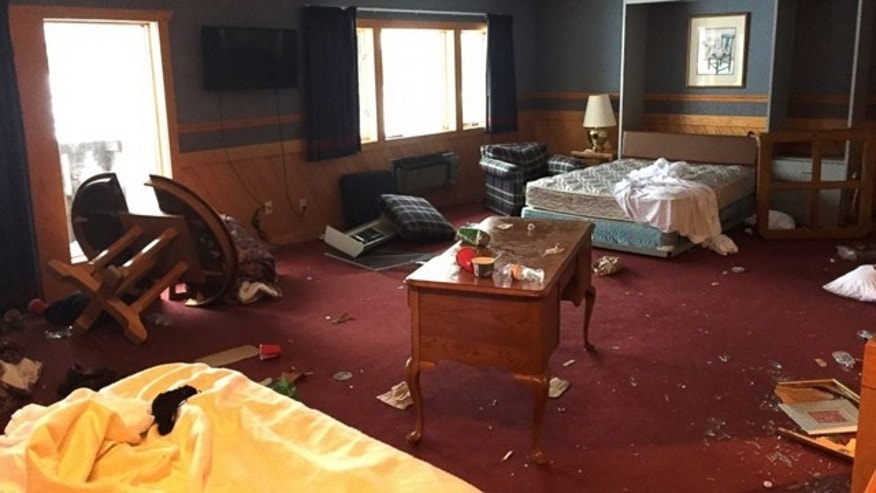 This photo shows a damaged room at the Treetops Resort in Dover Township, Mich. (Courtesy Treetops Resort)