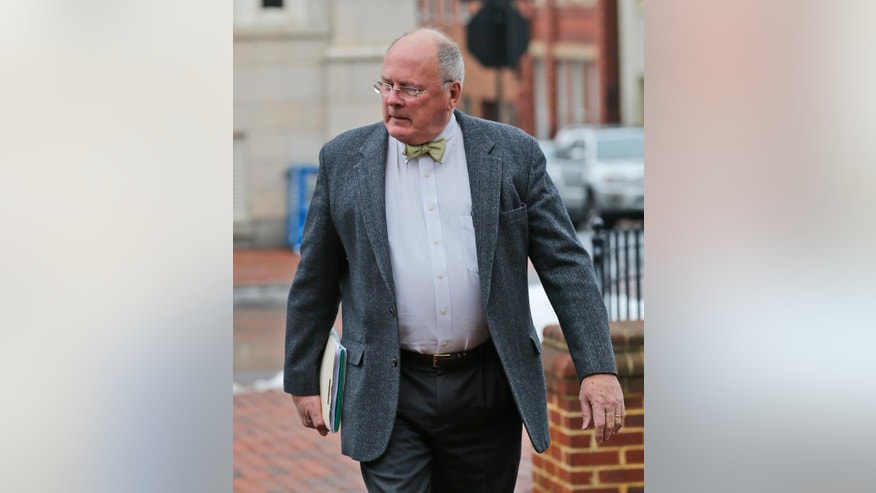 March 4, 2014: James Camblos, attorney for Jesse Matthew Jr., arrives at the Albemarle County Circuit Court for a hearing for his client in Charlottesville, Va. (AP)