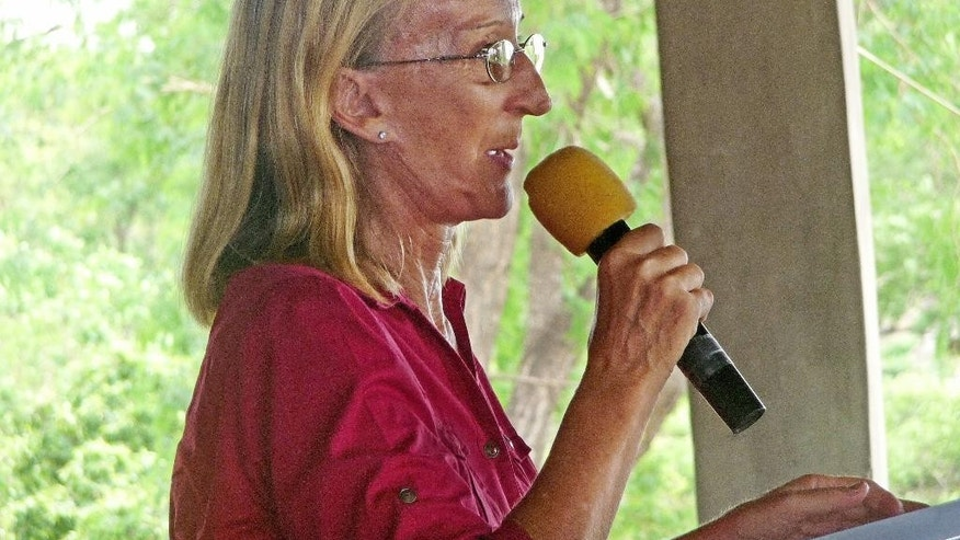 FILE - In this undated file photo provided by Mike Henry, Seattle missionary Rev. Phyllis Sortor speaks in a town in Nigeria. The Free Methodist Church said Friday, March 6, 2015, that Sortor, who was abducted last month from a school in Nigeria, has been released and is safe. (AP Photo/Mike Henry, File)