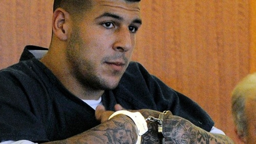 Aaron Hernandez during a bail hearing in Fall River Superior Court in Fall River, Mass., on June 27, 2013.