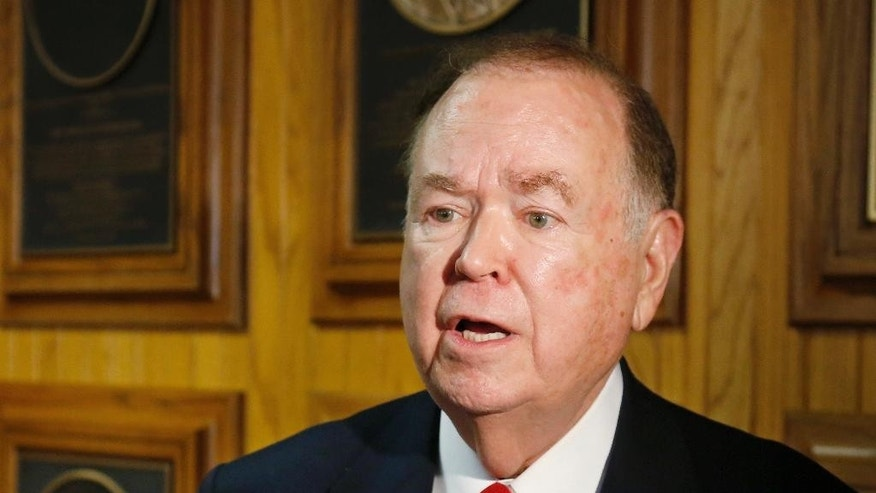 March 10, 2015: University of Oklahoma President David Boren talks with the media before the start of a Board of Regents meeting in Oklahoma City. (AP)