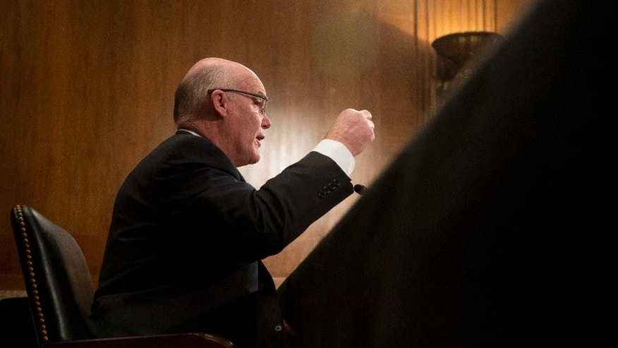 Secret Service Director Joseph Clancy testifies on Capitol Hill in Washington, Thursday, March 19, 2015, before the Senate subcommittee on Regulatory Affairs and Federal Management hearing to review the fiscal 2016 funding request and budget justification for the Secret Service.   (AP Photo/Manuel Balce Ceneta)