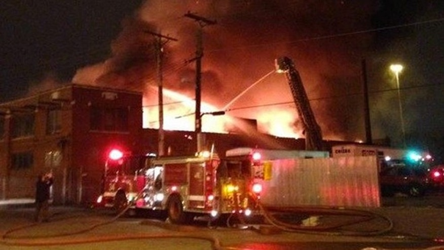 Firefighters battled an extra-alarm fire Thursday evening in the 4000 block of South Pulaski. (Chicago Fire Department)
