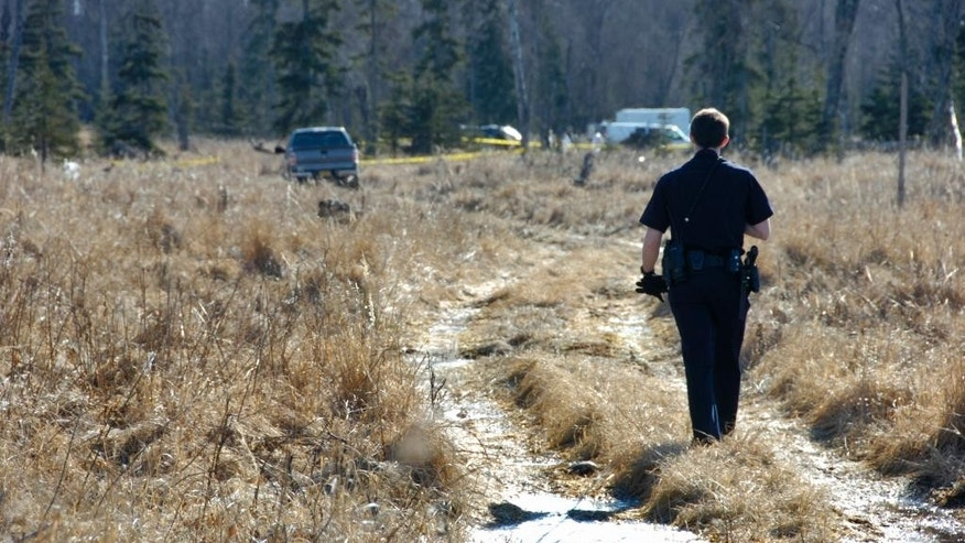 A Kenai police officer walks down a trail leading to a temporary camp where police and Federal Bureau of Investigations personnel Sunday, March 22, 2015 are working to identify remains of what Kenai Police believe to be a family who have been missing for nearly 10 months from their Kenai, Alaska home. While most of the land in the immediate area is state or federally owned, the place where police and the Federal Bureau of Investigation investigators is focusing their efforts, is a privately owned parcel. (AP Photo/Peninsula Clarion, Rashah McChesney)