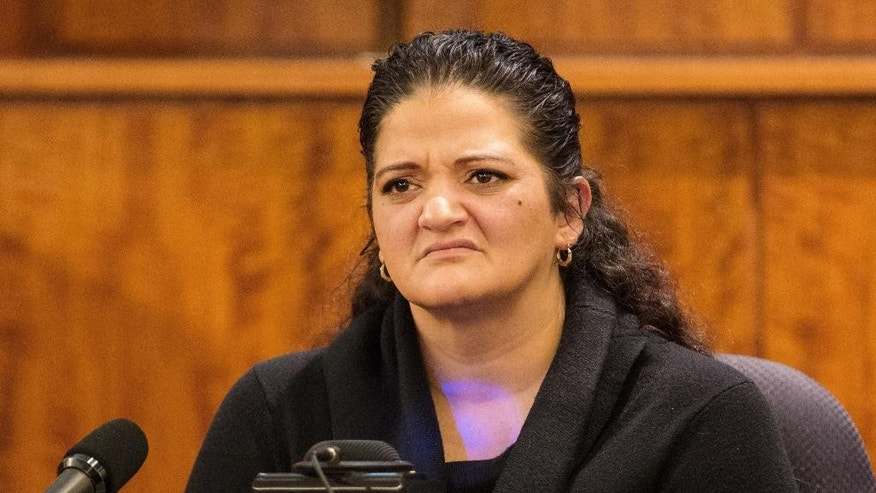 Witness Jennifer Mercado, a cousin of defendant Aaron Hernandez, testifies during the murder trial of the former New England Patriots NFL football player at Bristol County Superior Court, Tuesday, March 24, 2015, in Fall River, Mass. Hernandez is charged with killing semiprofessional football player Odin Lloyd in June 2013. (AP Photo/The Boston Globe, Aram Boghosian, Pool)