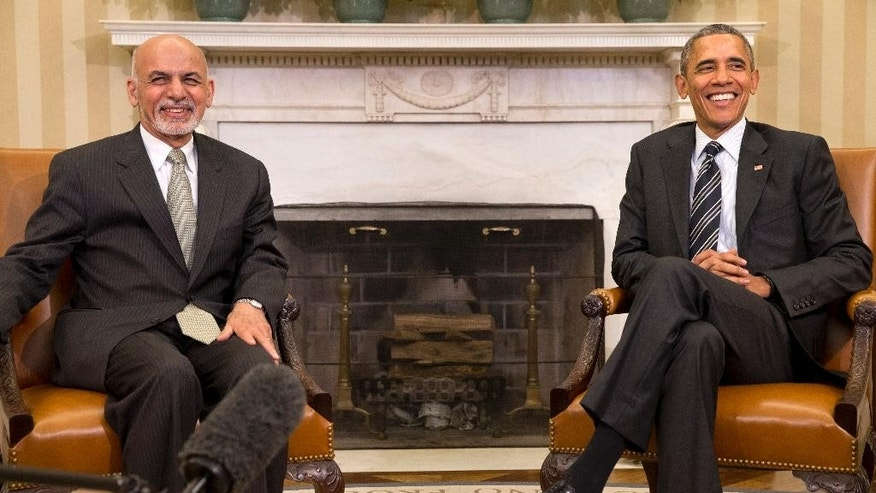 President Barack Obama meets with Afghanistan's President Ashraf Ghani in the Oval Office of the White House in Washington, Tuesday, March 24, 2015. (AP Photo/Jacquelyn Martin)