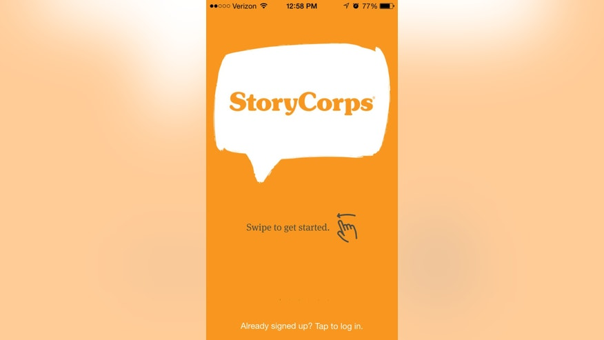 This image made from a mobile device on Wednesday, March 2015 shows the opening screen of the new StoryCorps app. The smartphone app will help StoryCorps founder Dave Isay carry out his wish for a worldwide expansion of the StoryCorps, which has allowed people to record their voices and life stories for an oral history project. Isay recently won the 2015 TED Prize of $1 million to help carry out his project. (AP Photo)