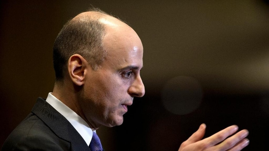 Saudi Arabian Ambassador to the United States Adel Al-Jubeir speaks during a news conference at the Royal Embassy of Saudi Arabia in Washington, Wednesday, March 25, 2015. Al-Jubeir says his country began airstrikes against the Houthi rebels in Yemen, who drove out the U.S.-backed Yemeni president. (AP Photo/Carolyn Kaster)