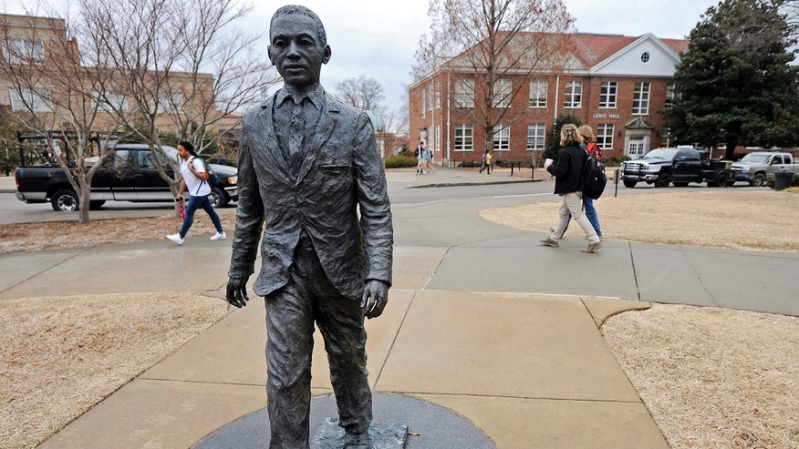 Feb. 17, 2014: File photo shows the James Meredith statue on the University of Mississippi campus in Oxford, Miss.