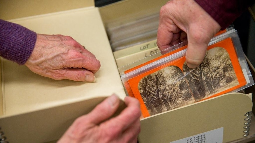 March 27, 2015: A box of of rare Civil War-era stereoscopic photographs is displayed at the Library of Congress in Washington.