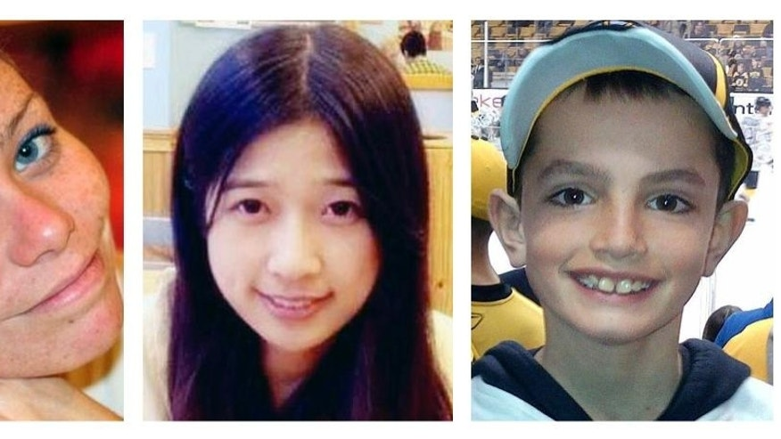 FILE - This combination of undated file photos shows, from left, Krystle Campbell, 29, Lu Lingzi, a Boston University graduate student from China, and Martin Richard, 8, all who were killed in the bombings near the finish line of the Boston Marathon on April 15, 2013, in Boston. Prosecutors rested their case Monday, March 30, 2015, against Boston Marathon bomber Dzhokhar Tsarnaev, after jurors in his federal death penalty trial saw gruesome autopsy photos and heard a medical examiner describe the devastating injuries suffered by the three people who died in the 2013 terror attack. (AP Photo/File)