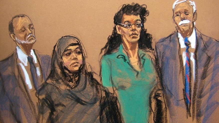 In this courtroom sketch, defendants Noelle Velentzas, center left and Asia Siddiqui, center right, appear in federal court with their attorneys, Thursday, April 2, 2015, in New York. The two women were arrested Thursday on charges they plotted to wage violent jihad by building a homemade bomb and using it for a Boston Marathon-type terror attack. (AP Photo/Jane Rosenberg)