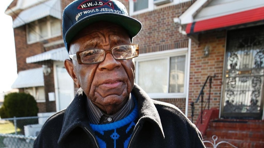 "William Jordan, 92, speaks to reporters Thursday, April 2, 2015, outside his home in the Queens borough of New York. Jordan lives across the street from a house where Noelle Velentzas, 28, lives. Veletzas is one of two women arrested early Thursday on charges linked to terrorism,according to court papers. Prosecutors said the two women were plotting to build a bomb to be used in a Boston Marathon-type attack.     ""I didn't think that anything like this would happen on this block,"" Jordan said. (AP Photo/Kathy Willens)"