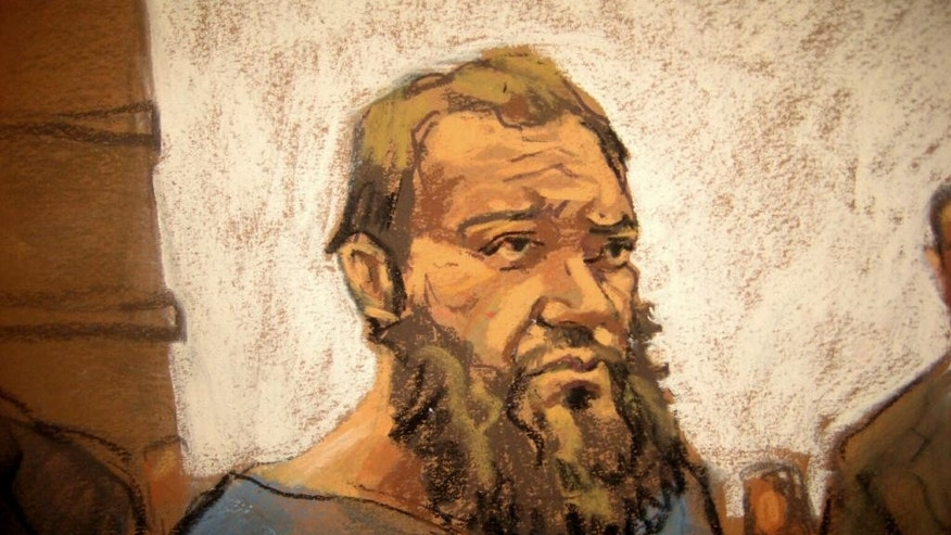 In this courtroom sketch, Muhanad Mahmoud Al Farekh makes a brief appearance at federal court in New York, Thursday, April 2, 2015. Authorities say that the U.S. citizen traveled from Canada to Pakistan to train with al-Qaida in order to carry out jihad and conspired to kill American soldiers. (AP Photo/Jane Rosenberg)
